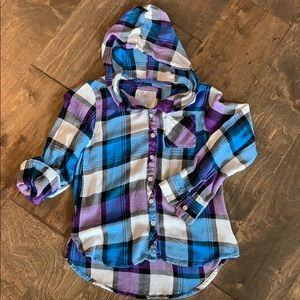 Justice hooded plaid button up shirt